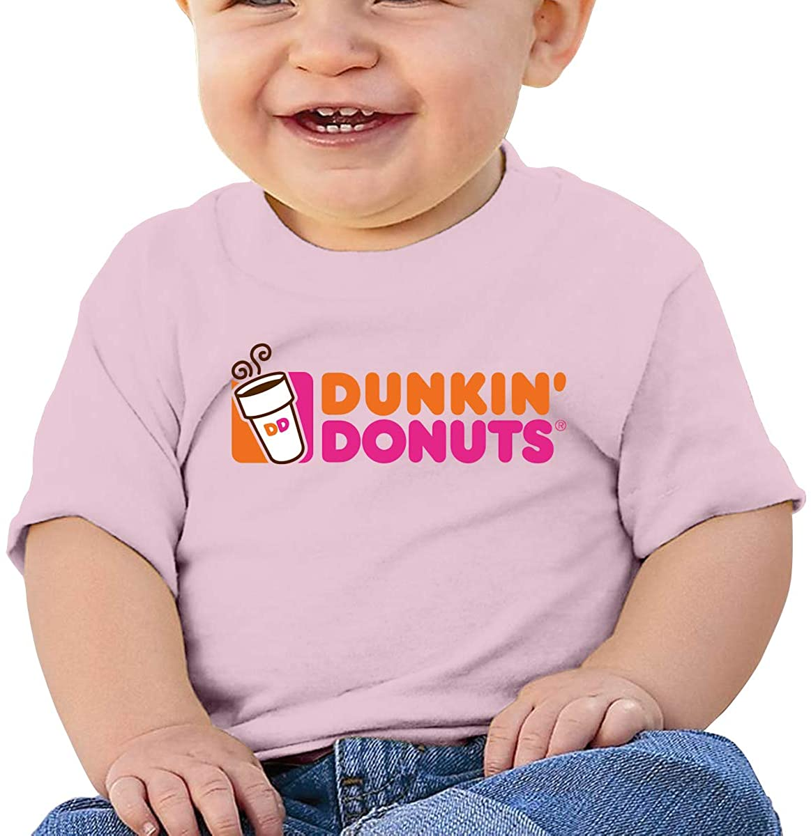 Dunkin Donuts Comfortable and Breathable Skin-Friendly Baby Short-Sleeved T-Shirt Pink