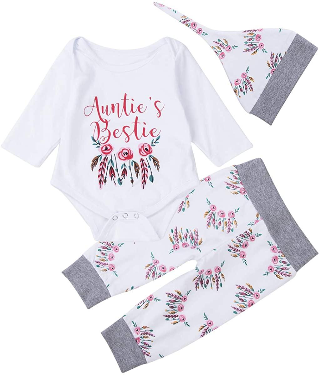 ALUNNI Newborn Infant Baby Girl Clothes Auntie's Bestie Romper Long Sleeve Bodysuit +Flower Print Pants Hat Headband Outfits