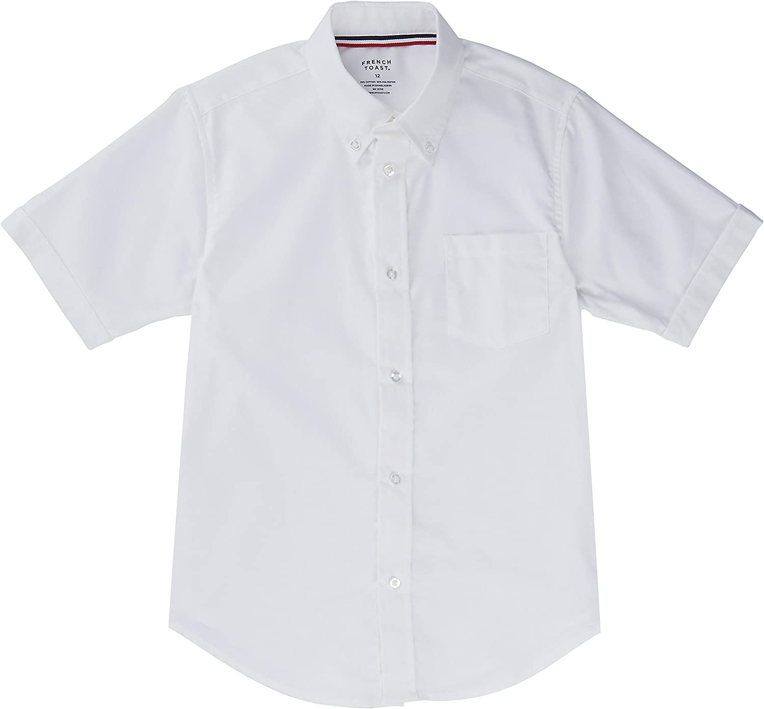 French Toast School Uniform Boys Short Sleeve Oxford Shirt, White, 3T