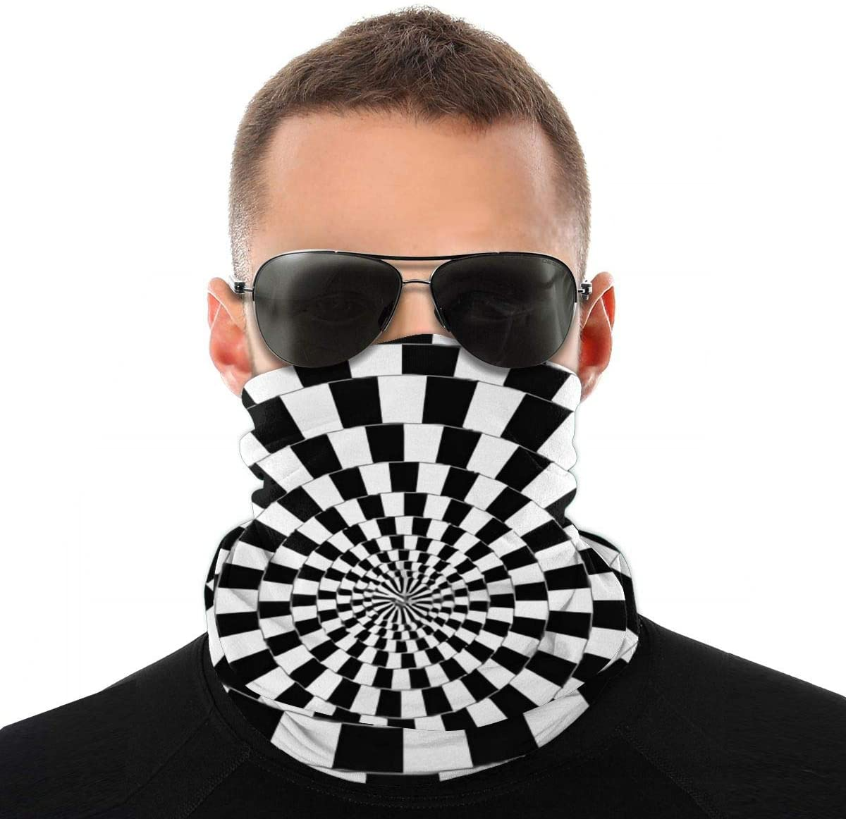 Atoyyre Black and White Lines 3D Graphic Printed Head Scarf Multi Function Scarf