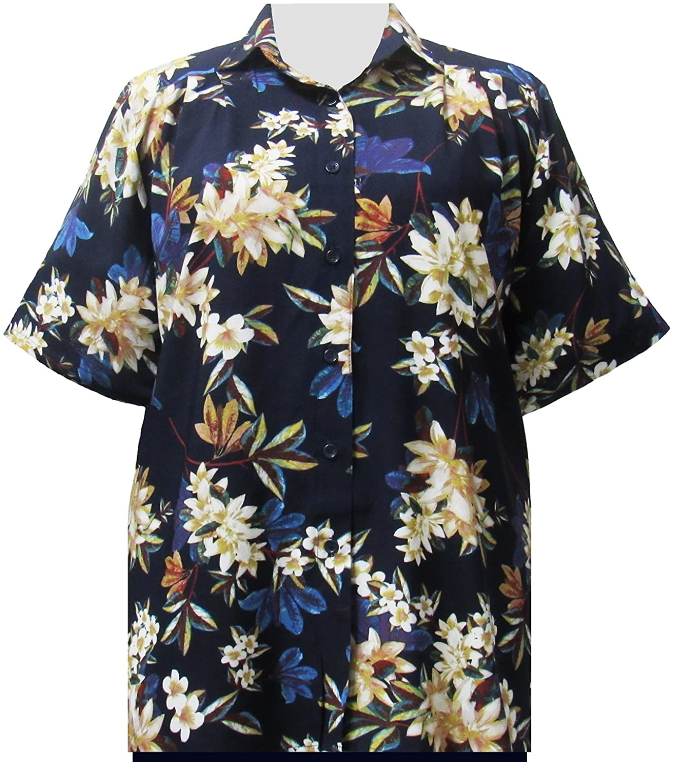A Personal Touch Navy Botanic Womens Plus Size Blouse
