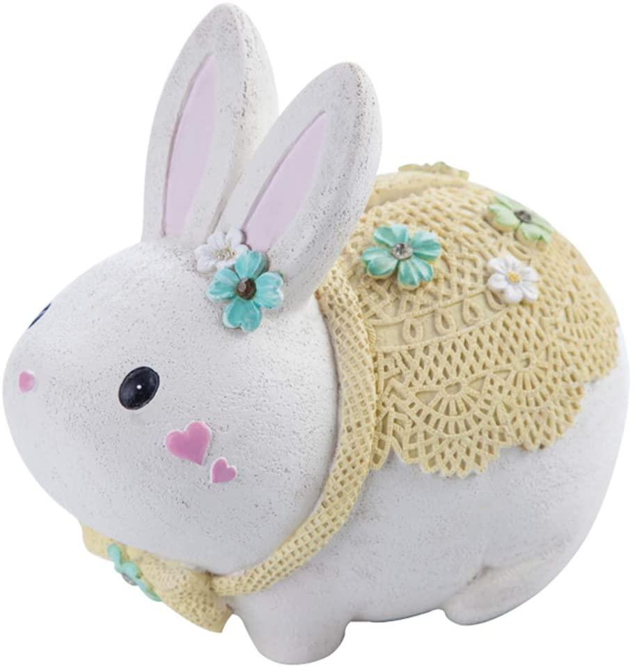 TAHE Creative Piggy Bank, Cute Rabbit Piggy Bank, Fashion Children Money Jar, Desktop Ornaments-White 13×15cm(5×6inch)