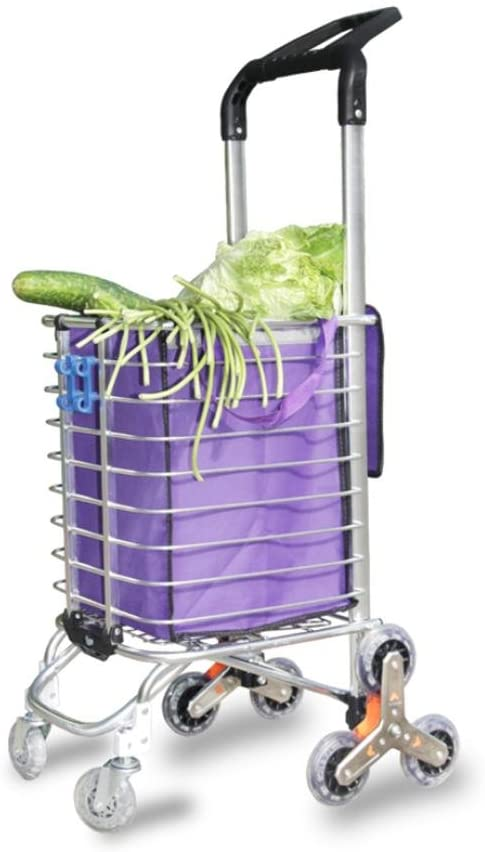 LUCKYYAN 35L Double Handle Lightweight Aluminum alloy Shopping Trolley Folding 8 Wheel Large Capacity Shopper