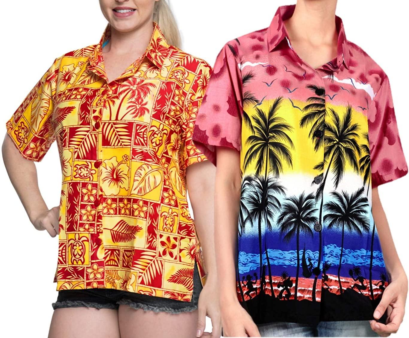 LA LEELA Women's Beach Hawaiian Shirt Dress Casual Button Down Shirts Work from Home Clothes Women Beach Shirt Blouse Shirt Combo Pack of 2 Size XL