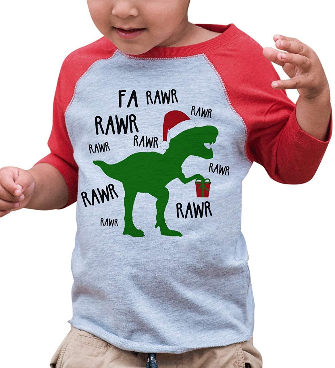 7 ate 9 Apparel Kids Christmas Dinosaur Red Raglan Shirt