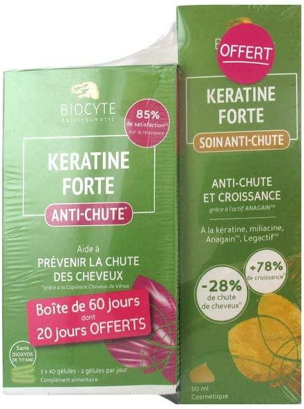 Biocyte Keratine Forte Anti-Hair Loss 3 x 40 Capsules + Keratine Forte Anti-Hair Loss Treatment 50ml