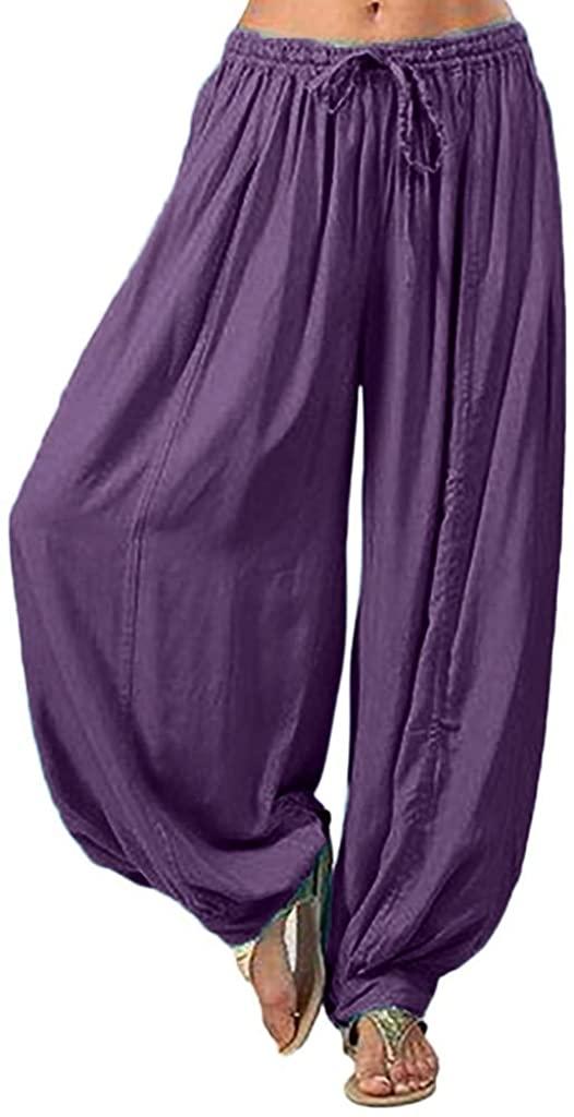 Pants for Women,Harem Yoga Pants Soft Modal Elastic Waist Long Baggy Sports Workout Casual Capri Trousers