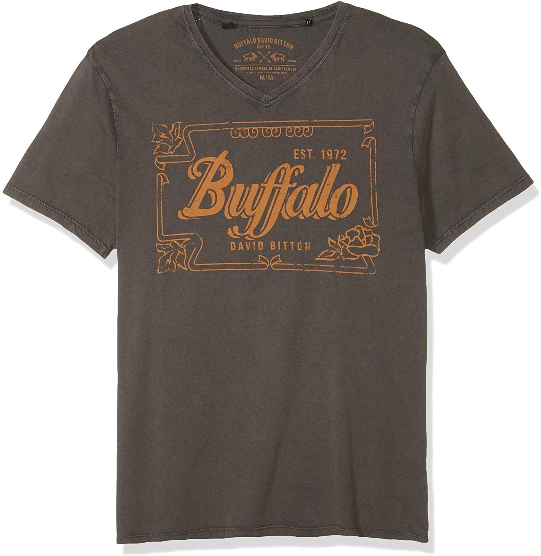 Buffalo David Bitton Men's Short Sleeve Heavy Single V-Neck Jersey