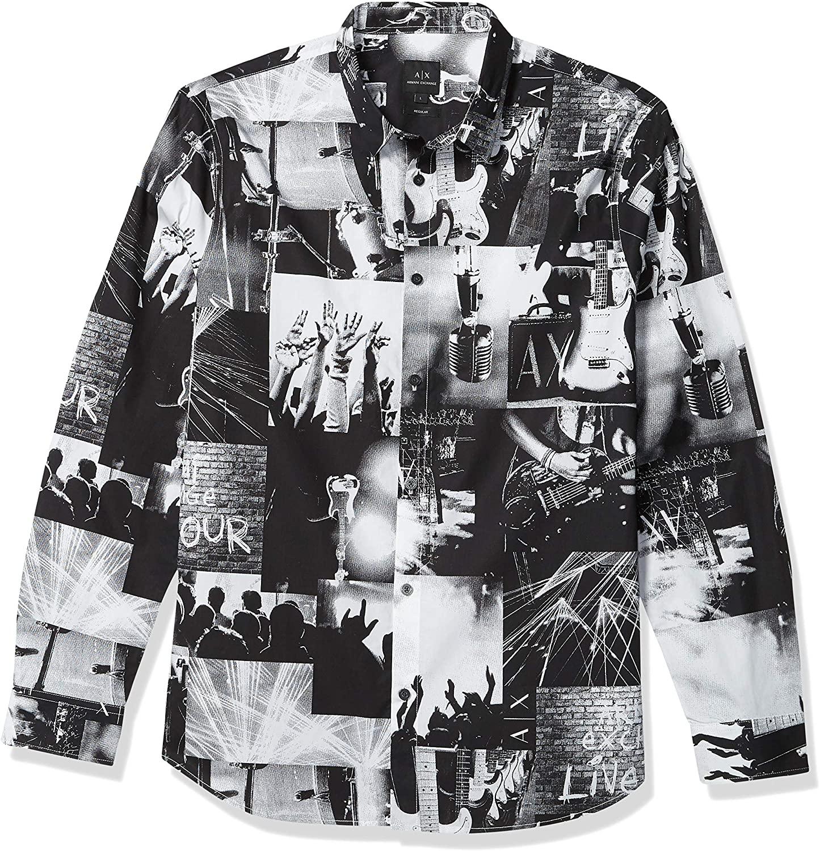 AX Armani Exchange Men's Regular Fit Rock Concert Print Long Sleeve Woven