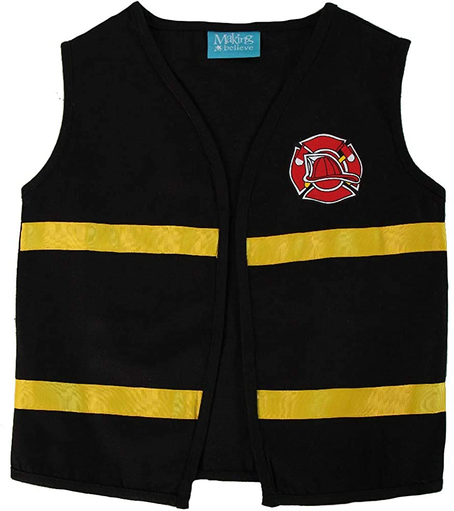 Making Believe Kids Black Fireman Costume Pretend Play Vest, Size 6/8