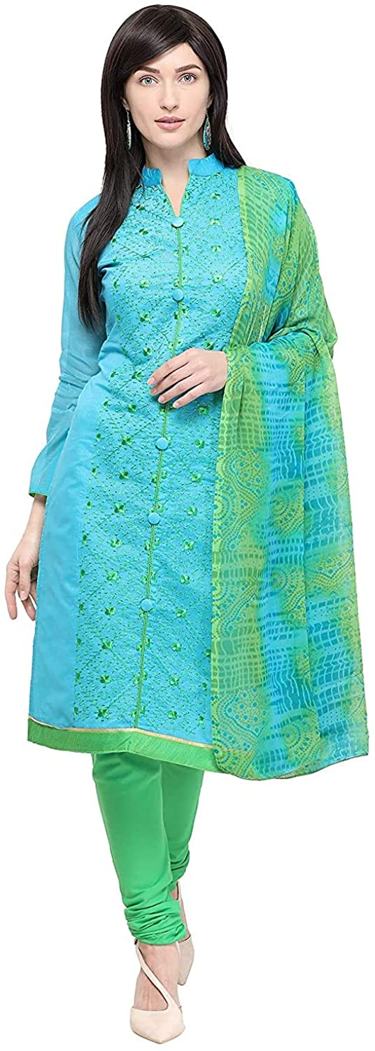 Indian Decor & Attire Women's Blue Chanderi Cotton Embroidered Unstitched Salwar Suit Material (Free Size)