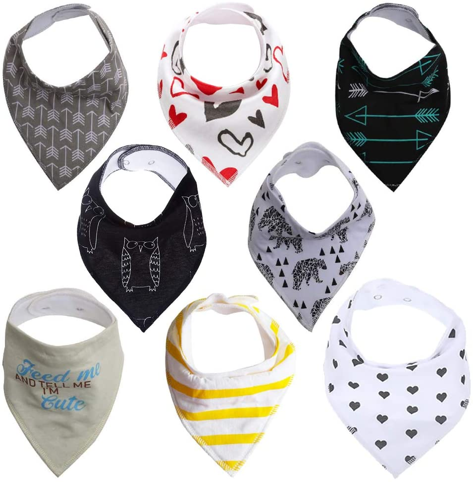 YASSUN 8-Pack Baby Bibs for Baby Bandana Drool Bibs Drooling and Teething, 100% Organic Cotton and Super Absorbent Hypoallergenic, Unisex Bib, style 2
