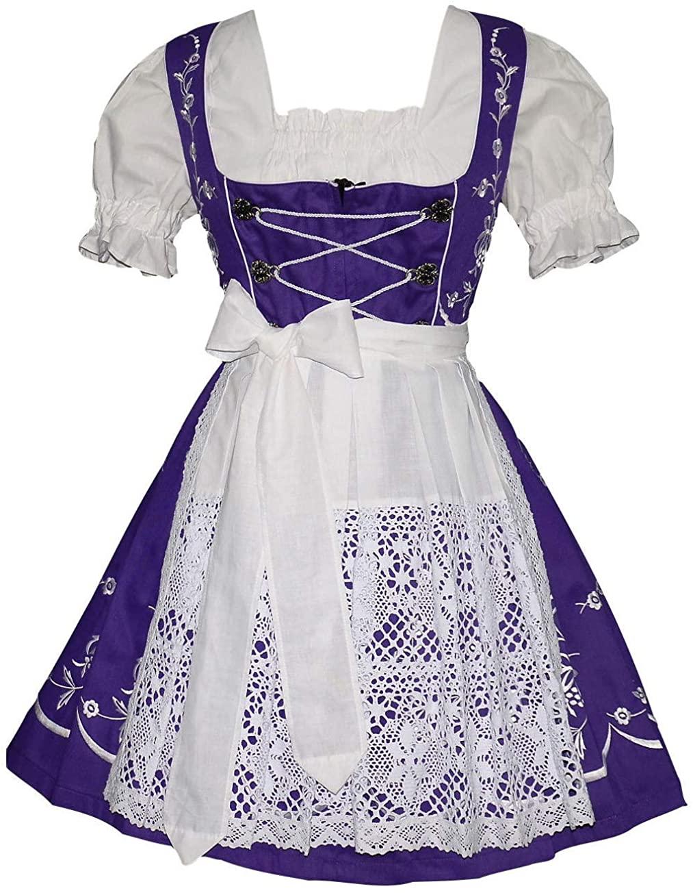 3-Pcs Short Womens Dirndl German Waitress Embroidered Oktoberfest Purple Dress
