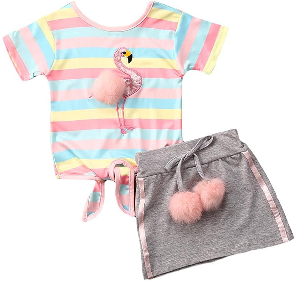 2pcs Toddler Baby Girls Outfit 3D Pom Pom Balls Stripe Bandage T-Shirt Tops+Party Mini Dress Skirt Set