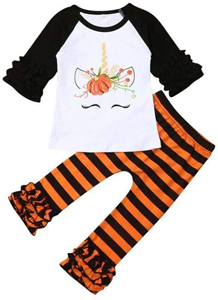 Toddler Kids Baby Girl Unicorn Pumpkin Ruffles Long Sleeve T-Shirt Tops Outfits Striped Pants Halloween Outfits 2PCS Set