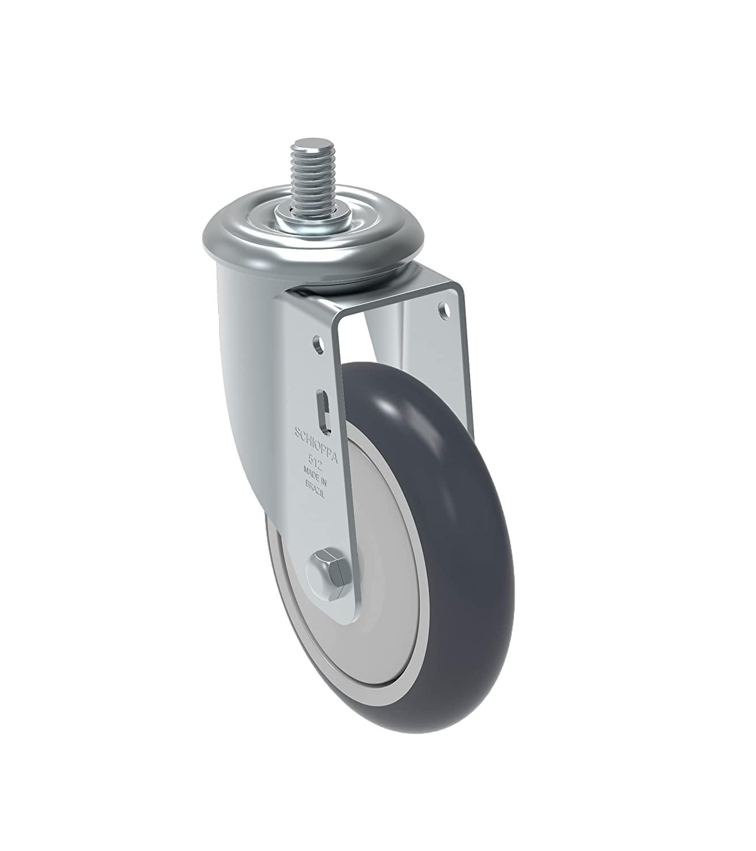 Schioppa GLEED 512 TBE L12 Series 5 x 1-1/4 Diameter Swivel Caster, Non-Marking Thermoplastic Rubber Precision Ball Bearing Wheel, 3/8 Diameter x 1 Length Threaded Stem, 275 lb