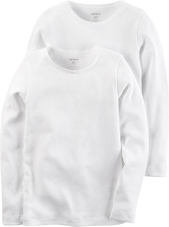 Carter's Girls' 2-Pack Cotton Longs sleeve Undershirts