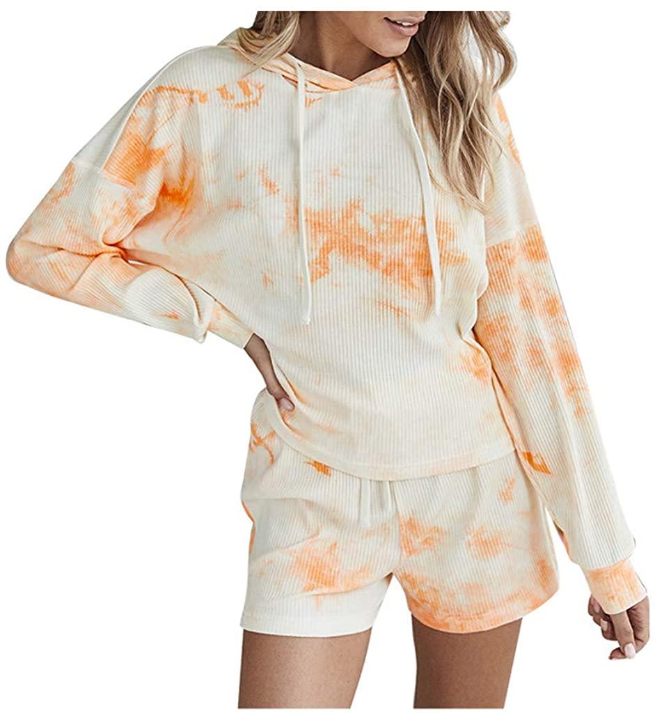 TOTAMALA Womens Two-Piece Tie-dye Printing Suit Hooded Sweatshirt and Drawstring Shorts Set Activewear Tracksuits