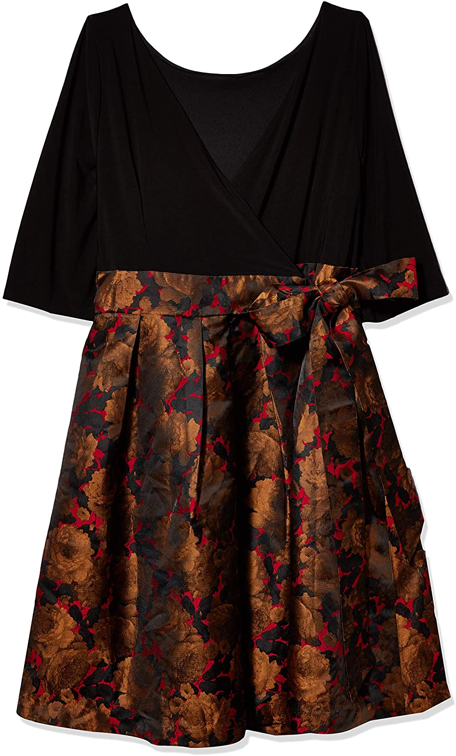 Adrianna Papell Women's Size Plus Rose Jacquard Fit and Flare with Matte Jersey Top Dress