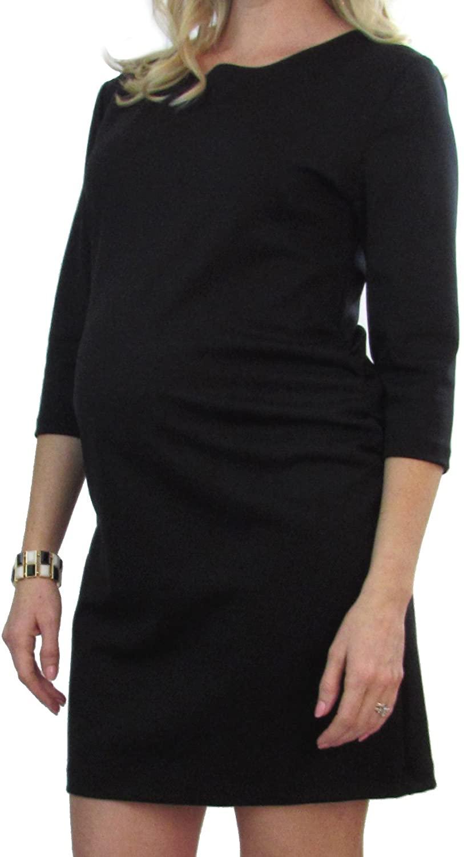 Embrace Your Bump 3/4 Sleeve Black Ponti Maternity Dress