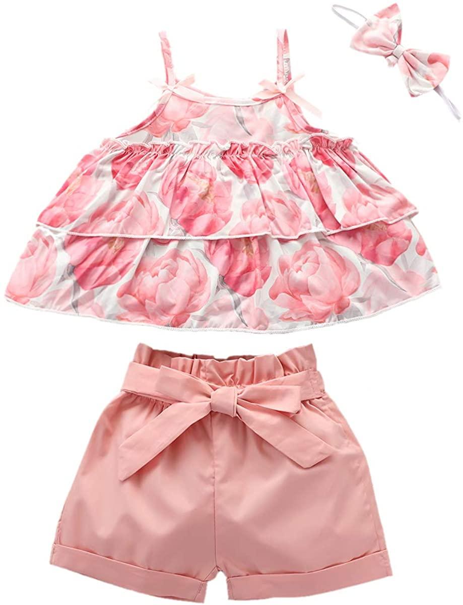 Toddler Baby Girls Summer Short Set Clothes Halter Ruffled Top Floral Shorts 2Pcs Outfits