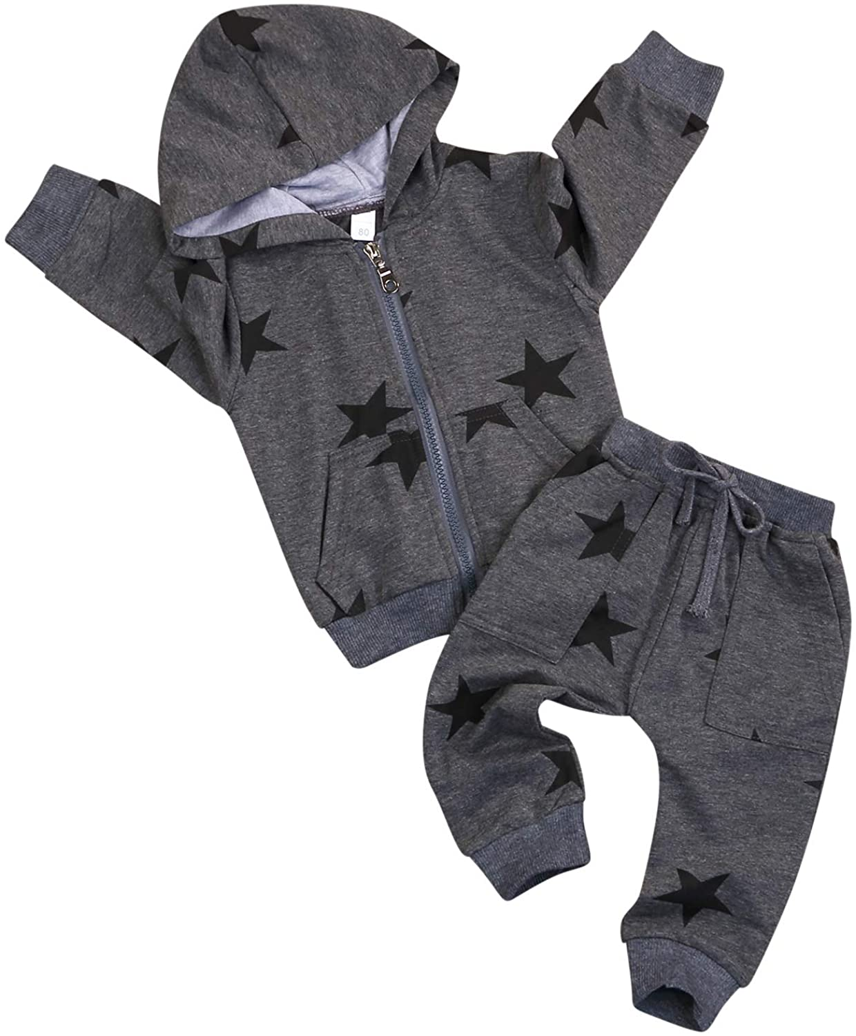Toddler Kids Baby Boys Star Clothes Zipper Hoodie Sweatshirt Jacket and Pants with Pocket Winter Spring Sports Clothes Sets