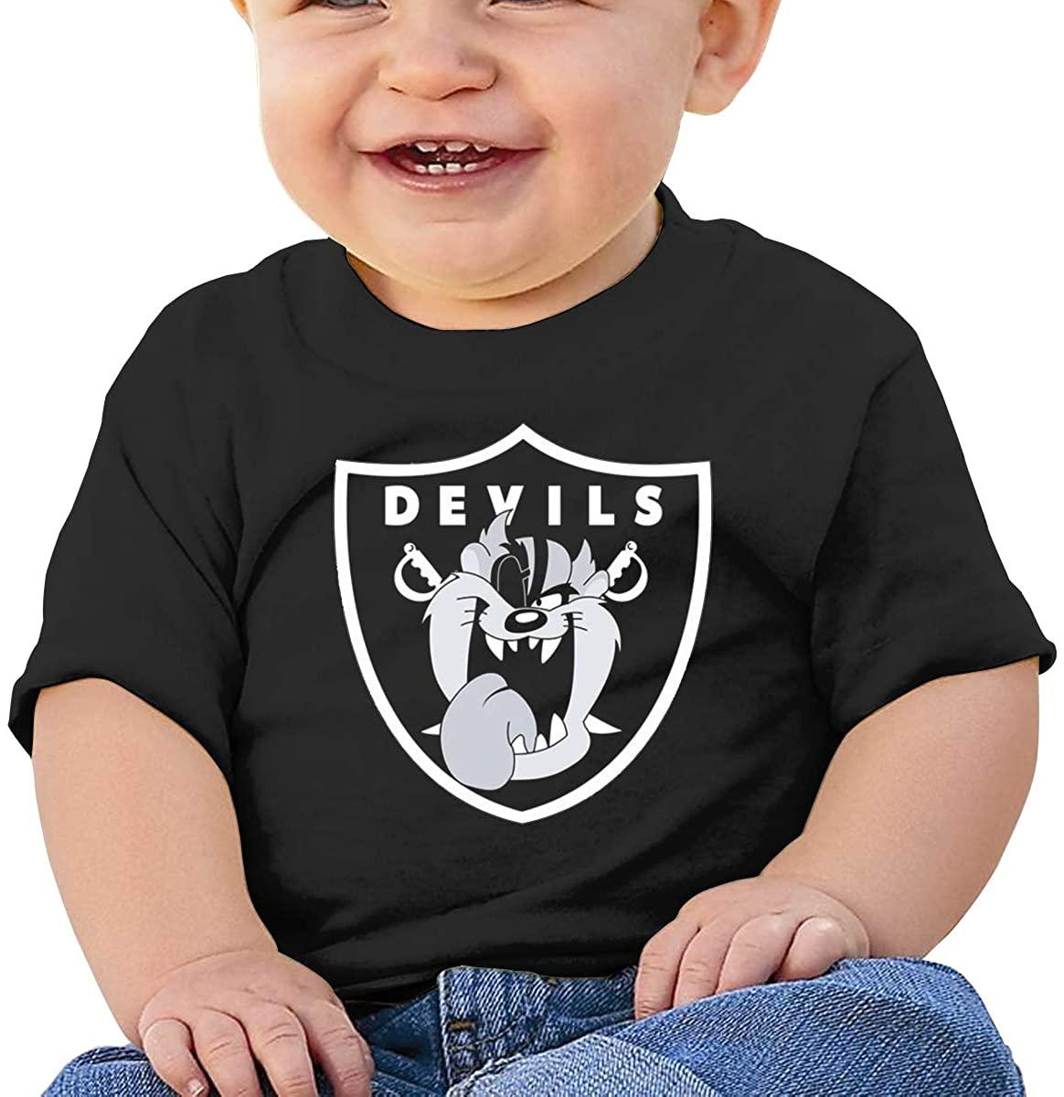 6-24 Months Boy and Girl Baby Short Sleeve T-Shirt Looney Tunes Tasmanian Devil Taz Original Minimalist Style Black