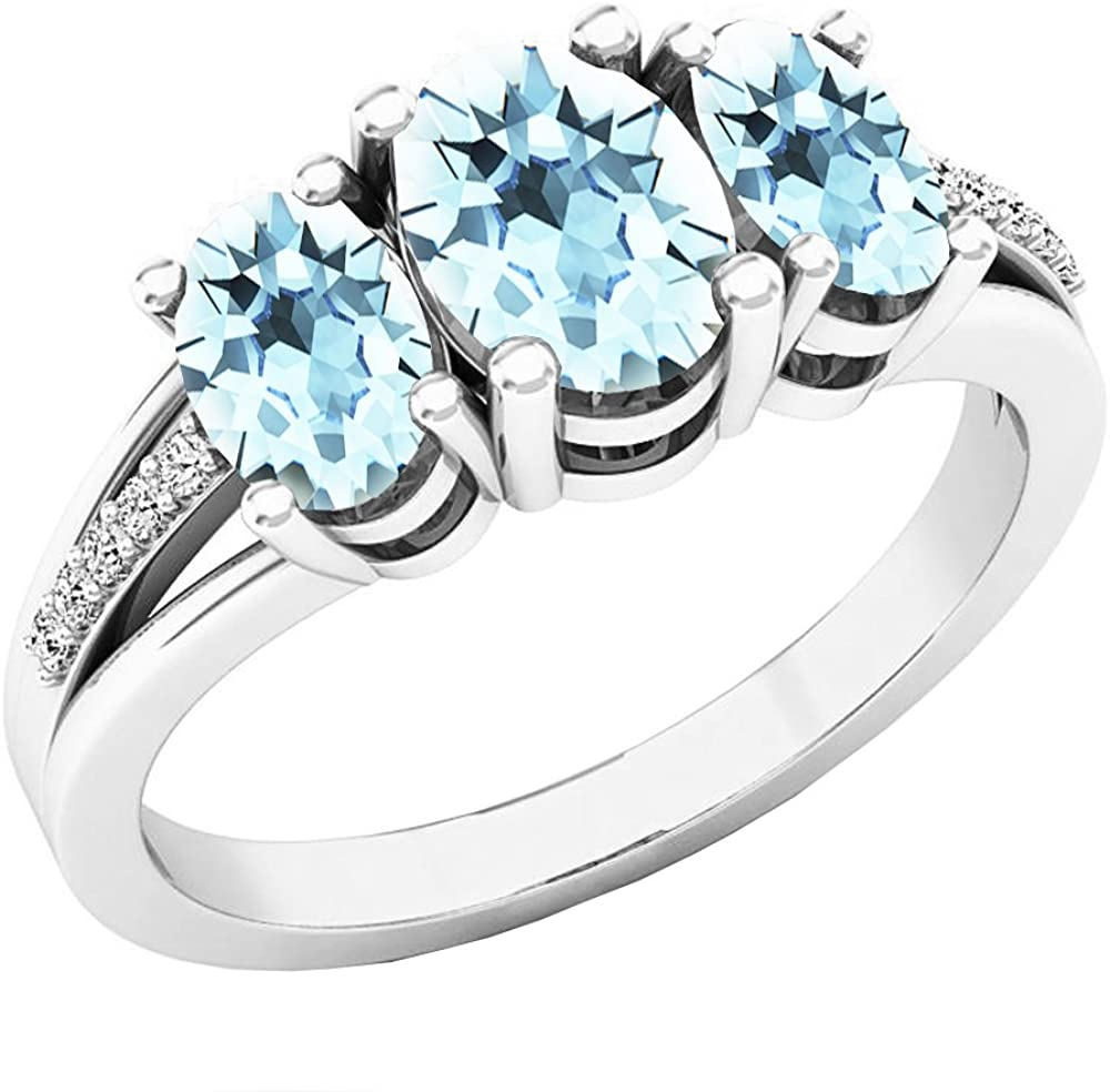 Dazzlingrock Collection Oval Aquamarine & Round Diamond Ladies 3 Stone Engagement Ring, Sterling Silver