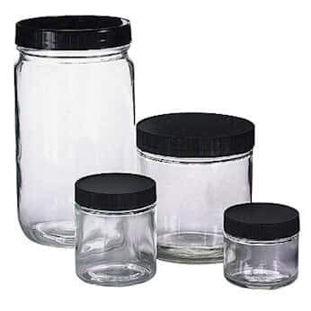 Qorpak Kaptclean 0100-0039 Glass Sample Jars, Wide Mouth, 960 mL, Cs of 12