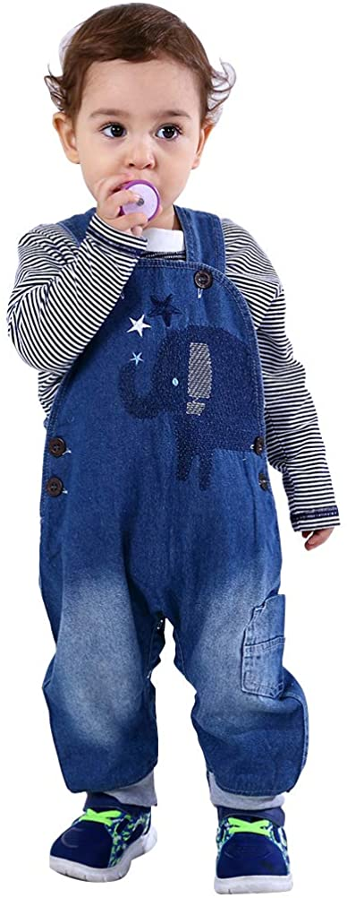 Abolai Cute Baby Boys Clothes Toddler Elephant Jeans Romper Set with Stripe T-Shirt