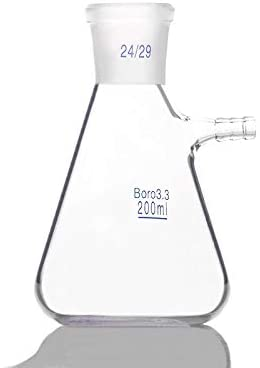 JIANFEI LIANG 2pcs- 200ml Filtering Flask, Ground Mouth 24/29, Clear Borosilicate 3.3 Glass, Bolt Neck with Tubulation, Heavy Wall Chemistry Lab Filter Flask (Capacity : 200ml)