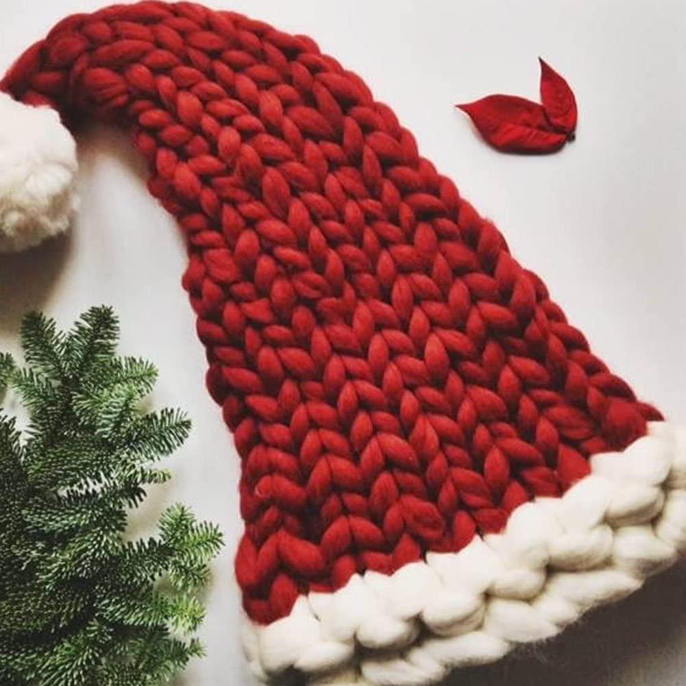 Yuhoo tmas Woolen Yarn Parent-Child Caps Decorations Ornaments Santa Claus Hats(Adult Type)