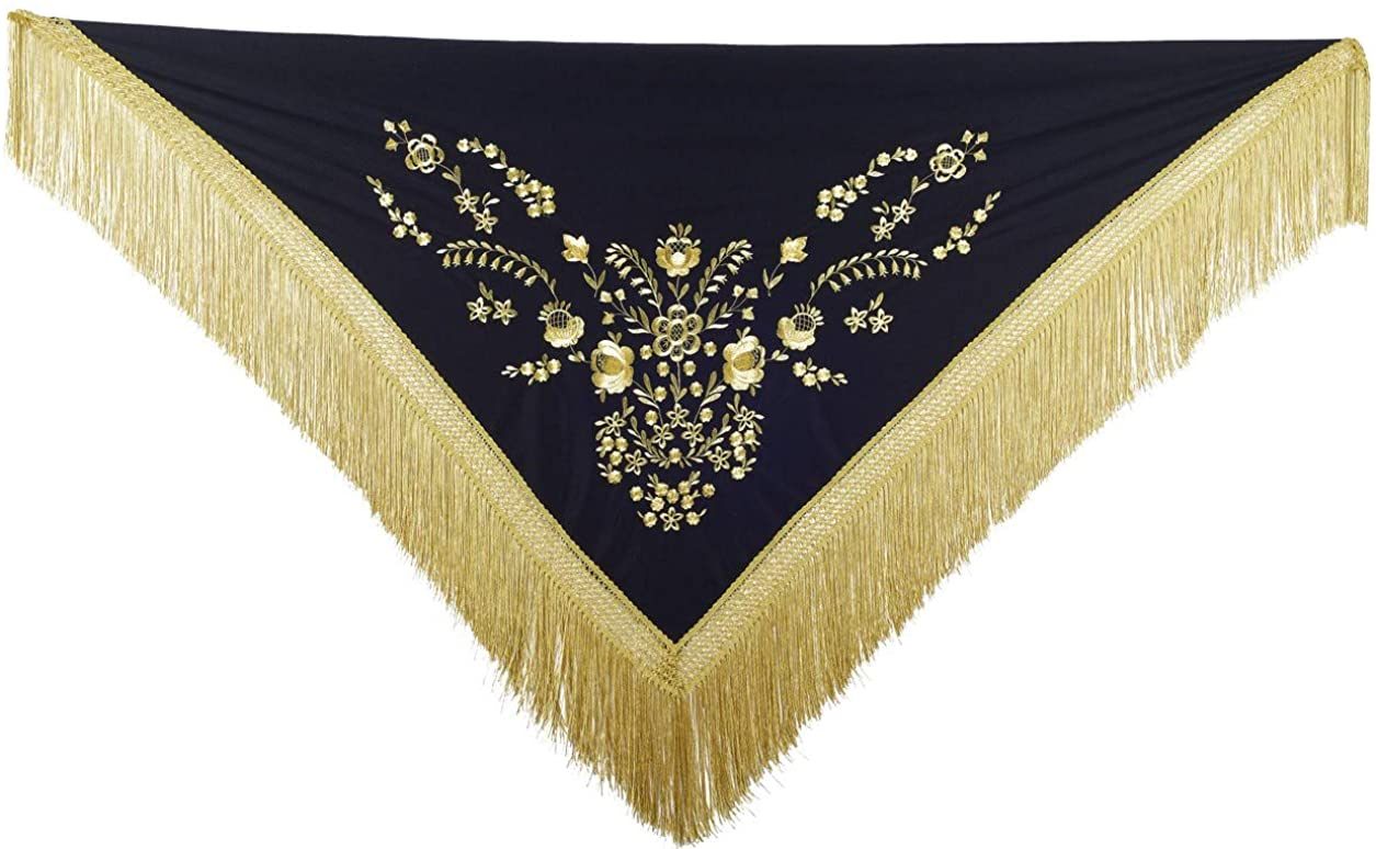 La Senorita Spanish Flamenco Dance Shawl Black Gold with golden Fringes Large