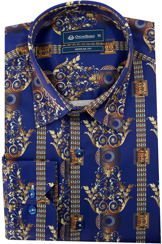 Oscar Banks Satin Navy Paisley Print Mens Shirt SL6154