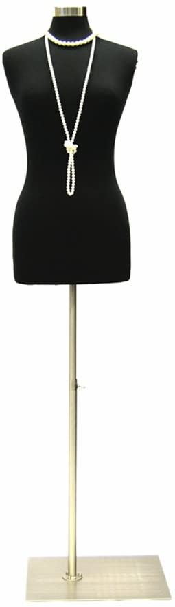 (JF-F6/8BK+BS-05) Size 6-8 Premium Black Female Fully Pinnable Mannequin Dress Form with Rectangle Brushed Metal Base with Top