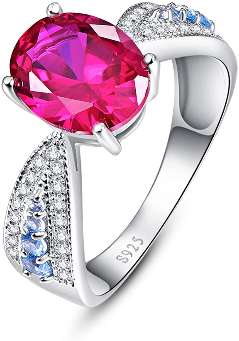 Auzeuner 925 Sterling Silver Ring 8x10mm Lab-Created Ruby Engagement Ring for Women