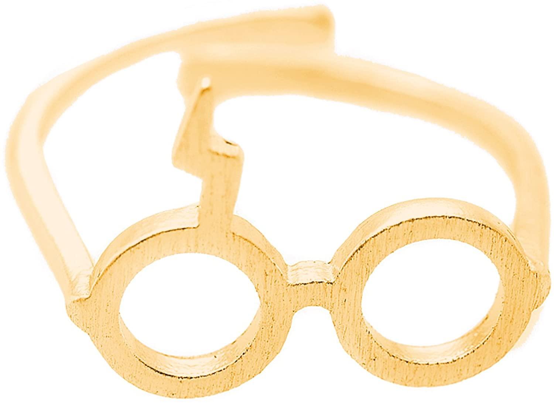 chelseachicNYC Adjustable Lightning Bolt Scar Geek Glasses Ring