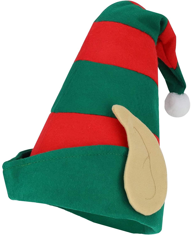 Armycrew Santa's Helper Striped Felt Elf Hat Ears pom