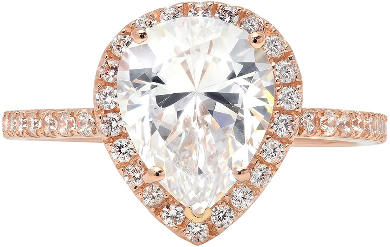 2.35ct Brilliant Pear Cut Halo Wedding Anniversary Engagement Statement Bridal Ring 14k Rose Gold