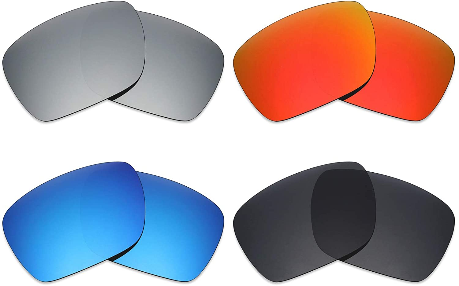 Mryok 4 Pair Polarized Replacement Lenses for Oakley Dispatch 1 Sunglass - Stealth Black/Fire Red/Ice Blue/Silver Titanium