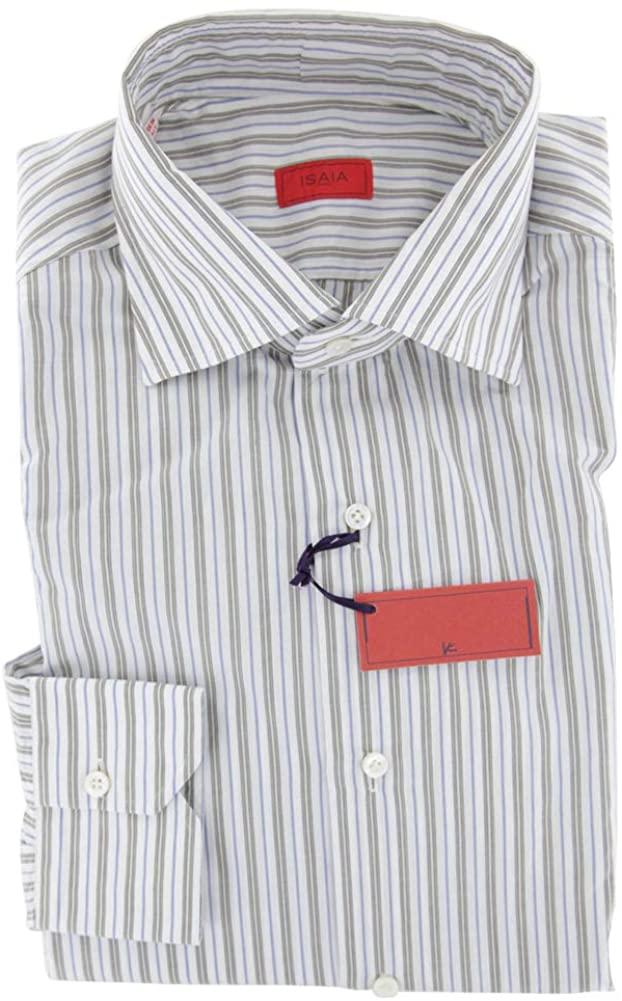 Isaia Stripes Button Down Cotton Slim Fit Dress Shirt