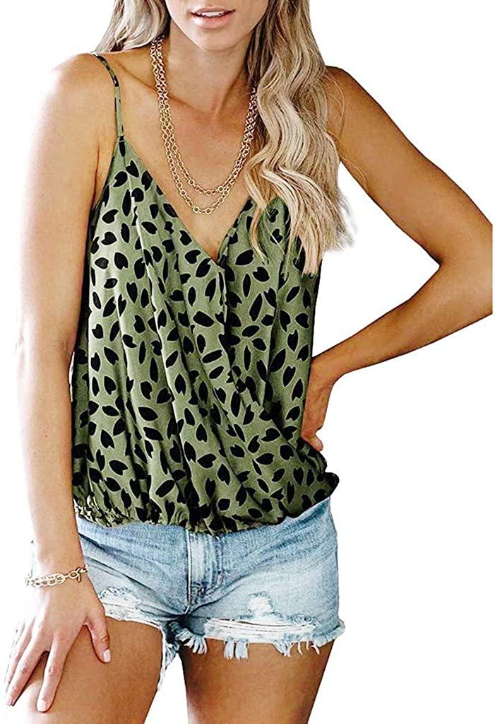 Rishine Womens Leopard Cami Tank Tops Deep V Neck Wrap Adjustable Strap Casual Sleeveless Summer Vest