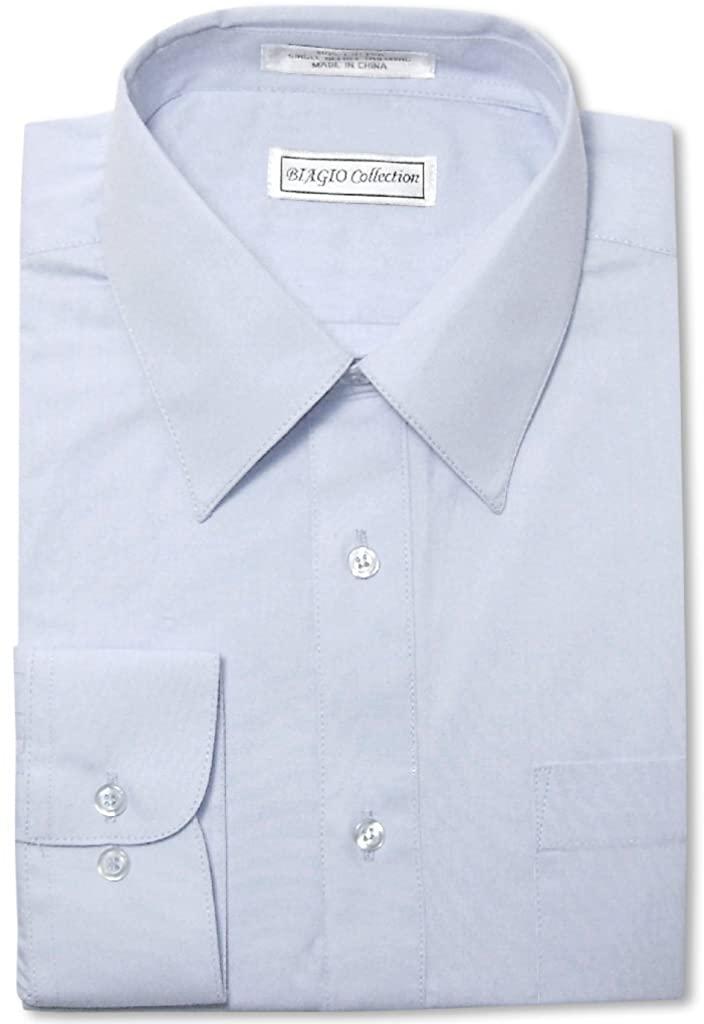 Biagio Men's 100% Cotton Solid Powder Blue Color Dress Shirt w Convertible Cuffs