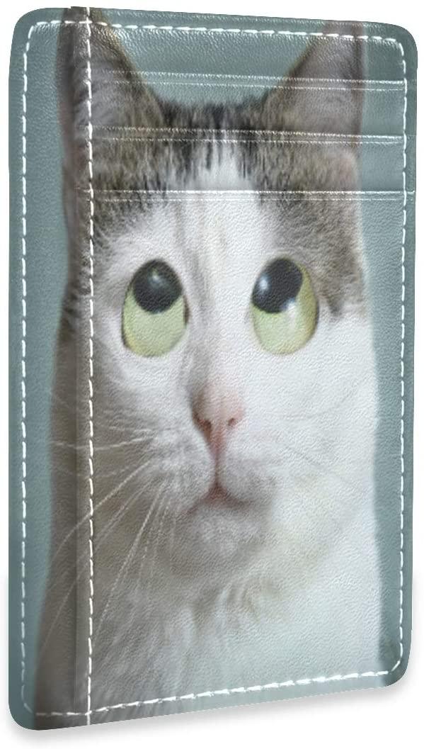 Funny Cat Roll Eyes Close Up Photo RFID Credit Card Holders Case Organizer Slim Minimalist Wallet Women Men