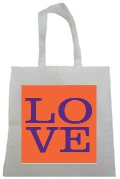 Purple and Orange LOVE Clemson Tigers Printed Tote Bag, 14.5x15