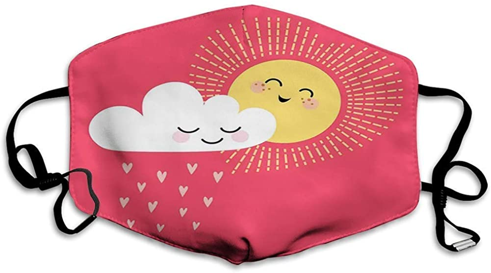 Adjustable Face Mouth Cover Fashion Masks Decoration,Valentines Day Theme Cloud and Sun Pattern with Heart Shaped Rays,Windproof