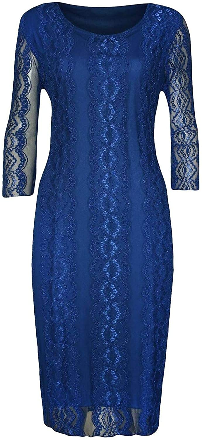 Ladies Womens Floral Lace 3/4 Sleeve Dress Scoop Neck Casual Novelty Dress