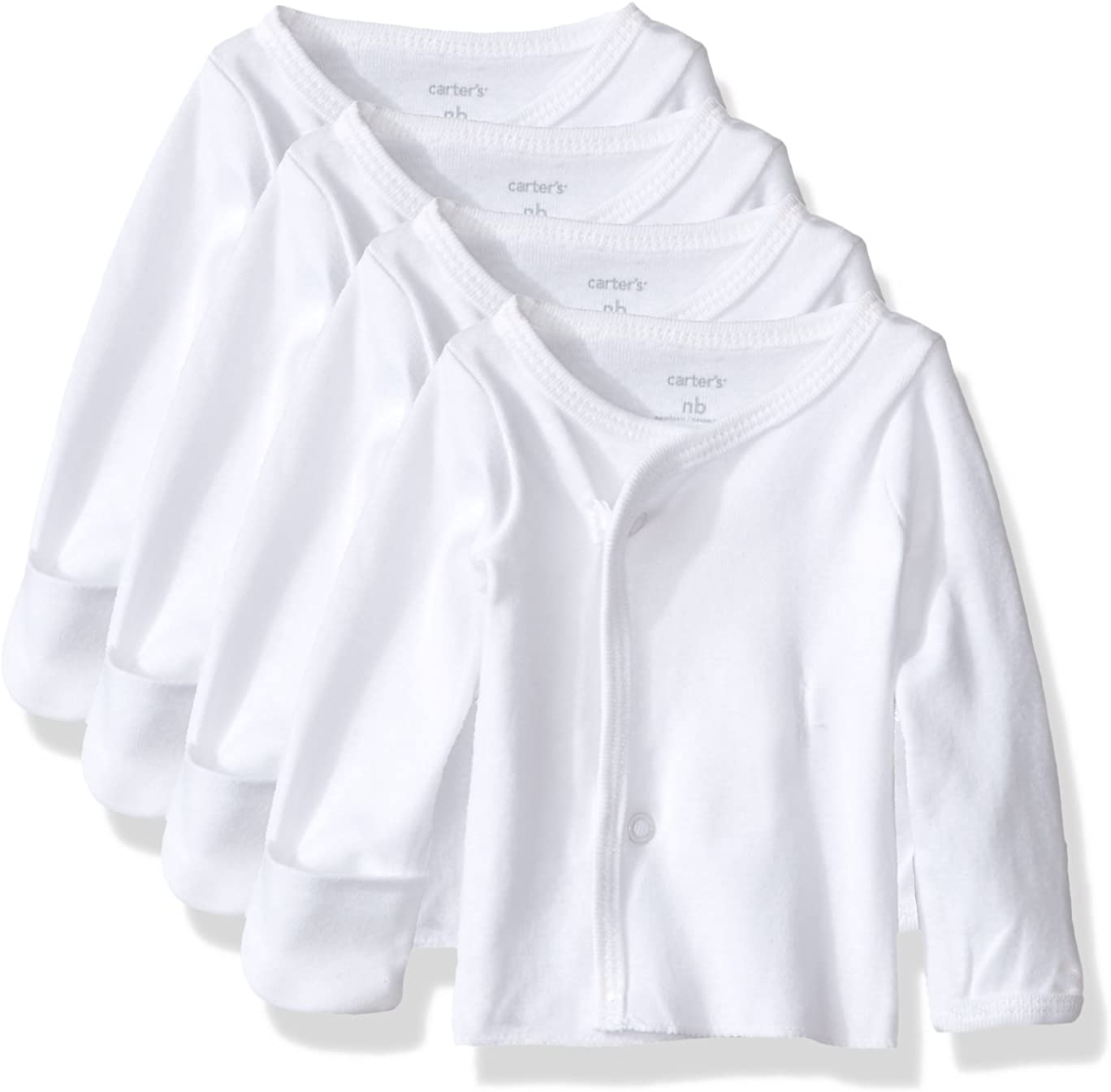 Carter's Unisex Baby 4 Pack Side Snap Tees (Baby) - White - Preemie
