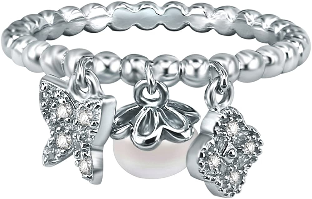 AoedeJ Butterfly and Four Leaf Clover Freshwater Pearl Beaded Ring 925 Sterling Silver CZ Ring for Her