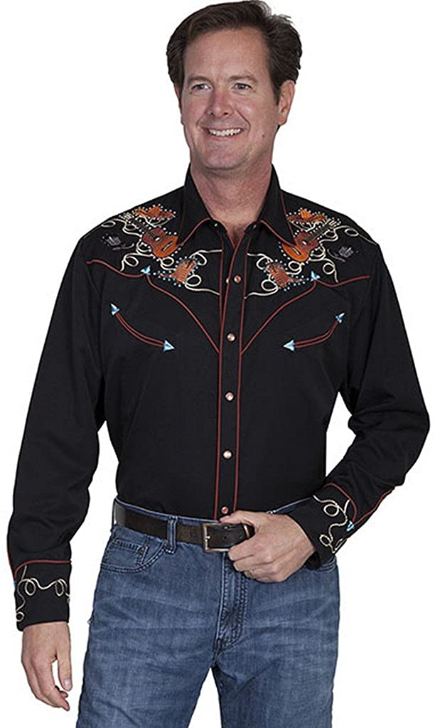 Scully Mens Shirt with Colorful Stones and Rope Embroidery - Black